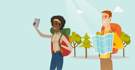 Couple of young multiethnic travelers making selfie. Smiling caucasian white man and african-american woman with backpacks and map travelling together. Vector cartoon illustration. Horizontal layout.