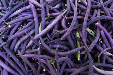 Multiple purple green beans for sale in a bin at a farmers' market in Aix en Provence, France.