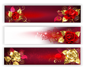 Horizontal banners with jewelry roses