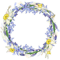 Spring easter round frame with space for text. Primrose flowers,handdrawn,blue and yellow