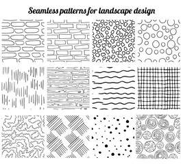Big collection of seamless patterns for landscape design. Endless texture, contour, black and white.