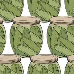 Seamless pattern with different glass jars with vegetables. Endless texture on white background