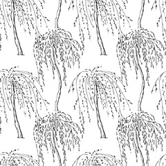 Seamless pattern with decorative trees. Black and white endless texture