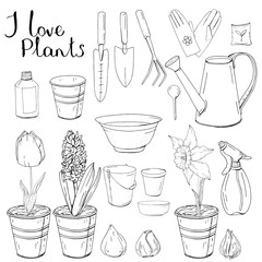 Black and white monochrome set with different gardening tools. Object for growing plants at home isolated on white background