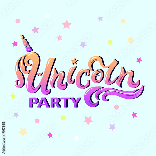Unicorn Party Lettering As Logotype Badge Patch And Icon Isolated
