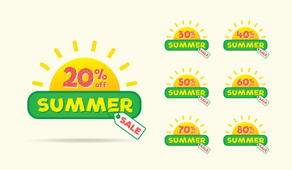 Summer Sale sun on the tag heading design for banner or poster. Sale and Discounts Concept. Vector illustration.