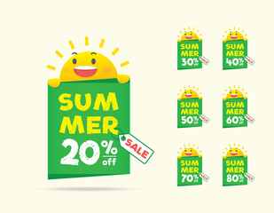 Summer Sale sun character on the tag heading design for banner or poster. Sale and Discounts Concept. Vector illustration.
