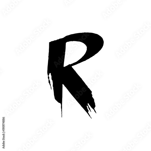 Letter R  Handwritten by dry brush  Rough strokes font