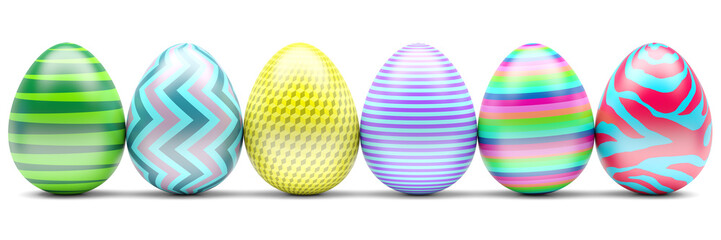 Set of Easter Eggs isolated on white. 3d Illustration