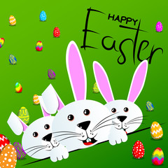 Bunnys with Happy Easter text on green background. Vector cartoon character illustration.