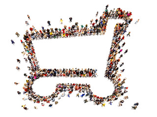 Large crowd of people forming the symbol of a shopping cart .Versatile Concept with room for text or copy space advertisement logo of a grocery or department store. 3d rendering isolated on white