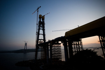 Construction of the Russian bridge across the Eastern Bosporus Strait in Vladivostok