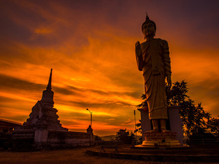 twilight with buddha 's statue
