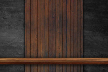 Empty top of wooden shelves on dark Board wood  background, For product display