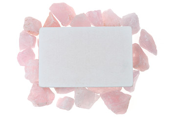 Pink quartz Mock up. rectangular  plate with quartz pink stones on a white background. Flat lay, top view, copy space