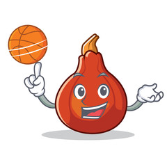 With basketball red kuri squash character cartoon