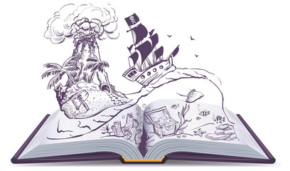 Open book about pirates and treasure. Ship sailboat pirate swims on waves. Treasure island