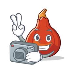 Photographer red kuri squash mascot cartoon