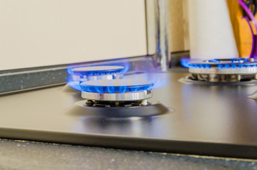 Burning gas burner.