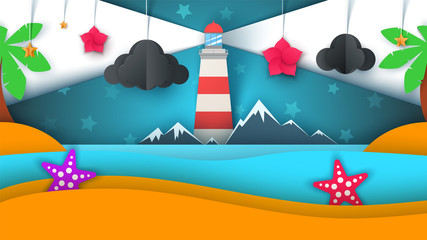 Cartoon paper island. Beach, palm, star, cloud mountain moon sea Vector eps 10