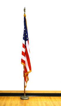 USA national flag stand indoor