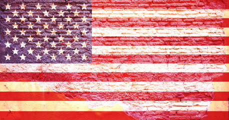 America flag painted on a brick wall. 3d illustration