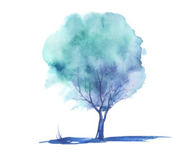 Illustration - blue Tree watercolor on an isolated white background. intage drawing. Ecological art illustration. For decoration, postcard, logo, article.
