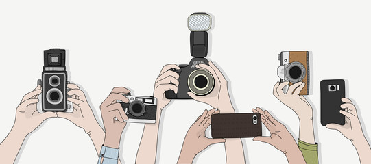 Illustration of hands holding camera