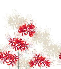 日本的な彼岸花の柄,