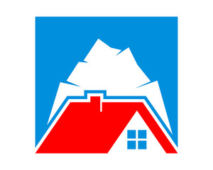 mountain peak housing home residence residential residency real estate image vector icon