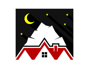 night mount house housing home residence residential residency real estate image vector icon 2