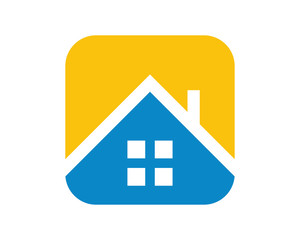blue roof housing home real estate residence residential image vector icon