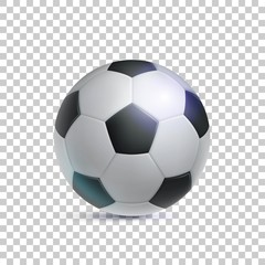 Classic soccer ball, realistic, isolated on transparent background. Image of sports equipment for football players, fans and amateurs. Vector illustration of modern detailed clipart