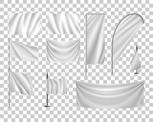 Set white flags, banners, streamers, transparent background, template. Vector illustration of an original mockup, collection of empty cloths