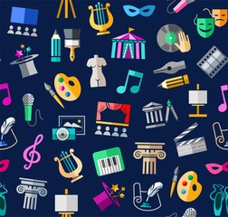 Culture and art, seamless background, color, blue, vector. Leisure and cultural centres. Cultural events and the attributes of art. Colored icons on a dark blue field. Vector picture.