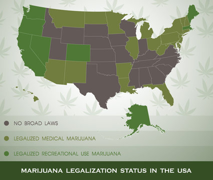 Marijuana legalization status map in the USA infographic