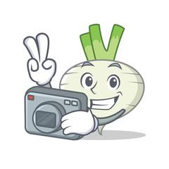 Photographer turnip mascot cartoon style