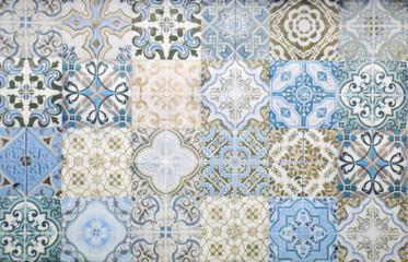 Vintage ceramic tiles wall decoration.Turkish ceramic tiles wall background Wall mural