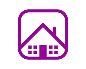 purple house roof housing home residence residential residency real estate image vector icon