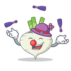 Juggling turnip mascot cartoon style