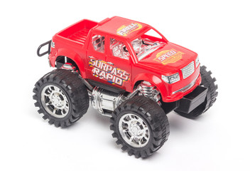 Red Toy car Bigfoot