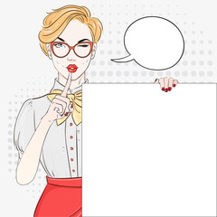 Pop Art Vintage advertising poster comic girl keep a silence and hold white banner. Comic woman with speech bubble. Vector illustration.
