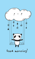 Good morning. Cute panda on the swing and funny cloud. Hand drawn illustration for your design. Blue background. Vector.