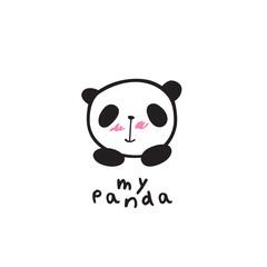 Baby panda face logo template. Doodles, sketch for your design. Vector.