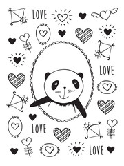 Greeting card for Valentine's Day, birthday, wedding with hand drawn cute panda and hearts.  Doodles, sketch for your design. Black and white. Vector illustration.