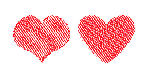 Red heart icon set. Different shape. Happy Valentines day sign symbol template. Scribble line effect. Cute graphic object. Flat design style. Love greeting card. Isolated. White background