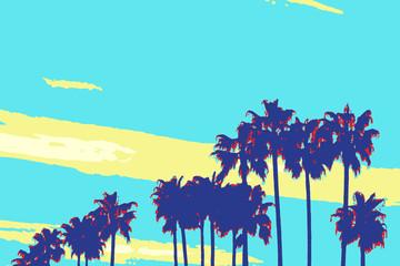 Foto auf Acrylglas Turkis Palm Tree Silhouettes in pop art poster style