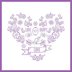 Vintage color heart of flowers. Greeting card with hand drawn decorative floral elements for Valentine's Day, mother's day, birthday, wedding. Doodles, sketch. Vector.