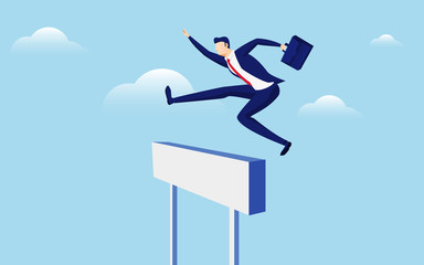 Overcome obstacles and success concept. Businessman holding briefcase jumping over hurdle race obstacle.