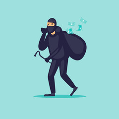 Thief carries a bag of money. Flat design vector illustration.